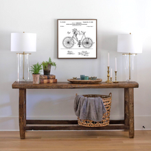Load image into Gallery viewer, Vintage white wood sign featuring vintage bicycle patent