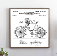 Load image into Gallery viewer, Close view of vintage bicycle patent white wood sign