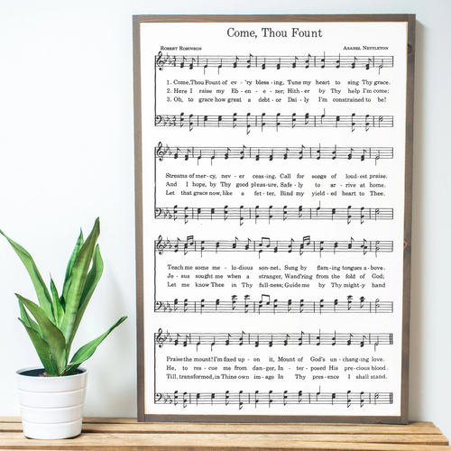 Come, Thou Fount Sheet Music Wood Sign