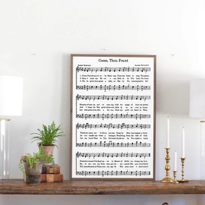 Sheet music sign with traditional hymn Come Thou Fount