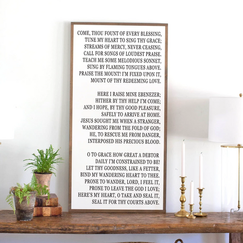 Come Thou Fount Hymn Lyrics Wood Sign
