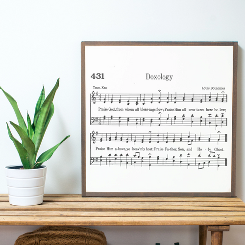 Doxology Sheet Music Wood Sign
