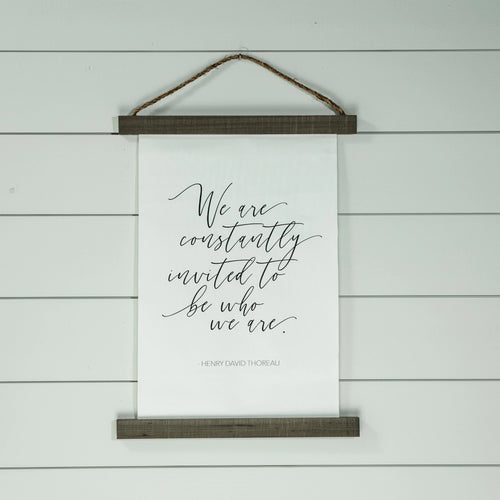 Thoreau hanging canvas sign