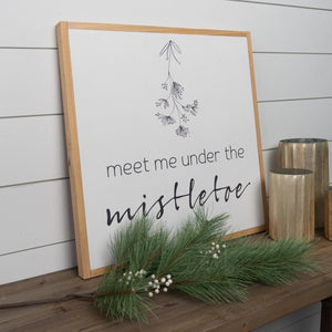 Side view of mistletoe Christmas wood sign