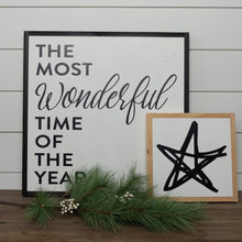 Load image into Gallery viewer, Holiday wood sign with star graphic layered with Christmas sign