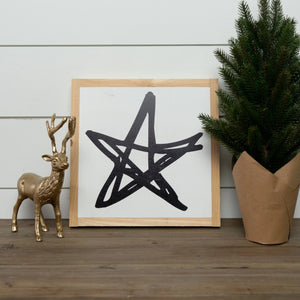 Holiday wood sign with star graphic and natural wood frame