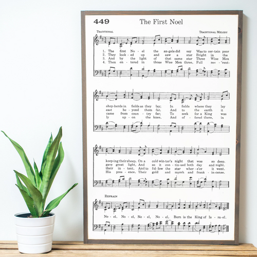 The First Noel Sheet Music Wood Sign