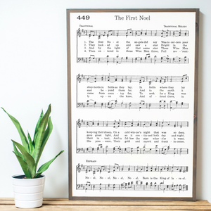 The First Noel Sheet Music framed wood sign