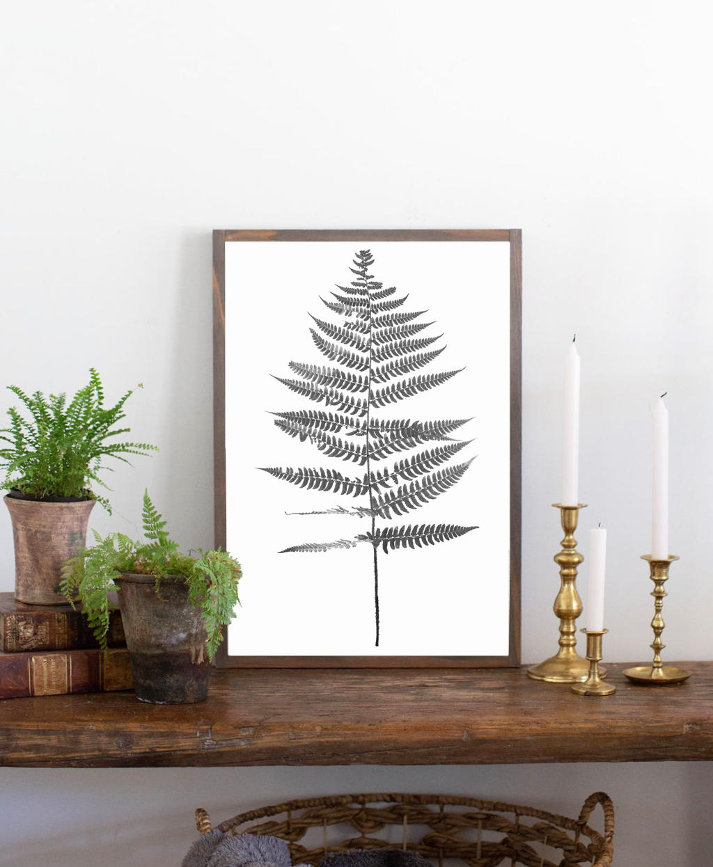 Modern farmhouse sign with fern graphic 1