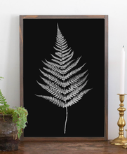 Load image into Gallery viewer, Modern farmhouse sign with fern graphic 3 black background