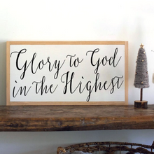 Load image into Gallery viewer, Glory to God in the highest framed wood sign