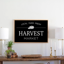 Load image into Gallery viewer, Black framed wood sign with Harvest Market