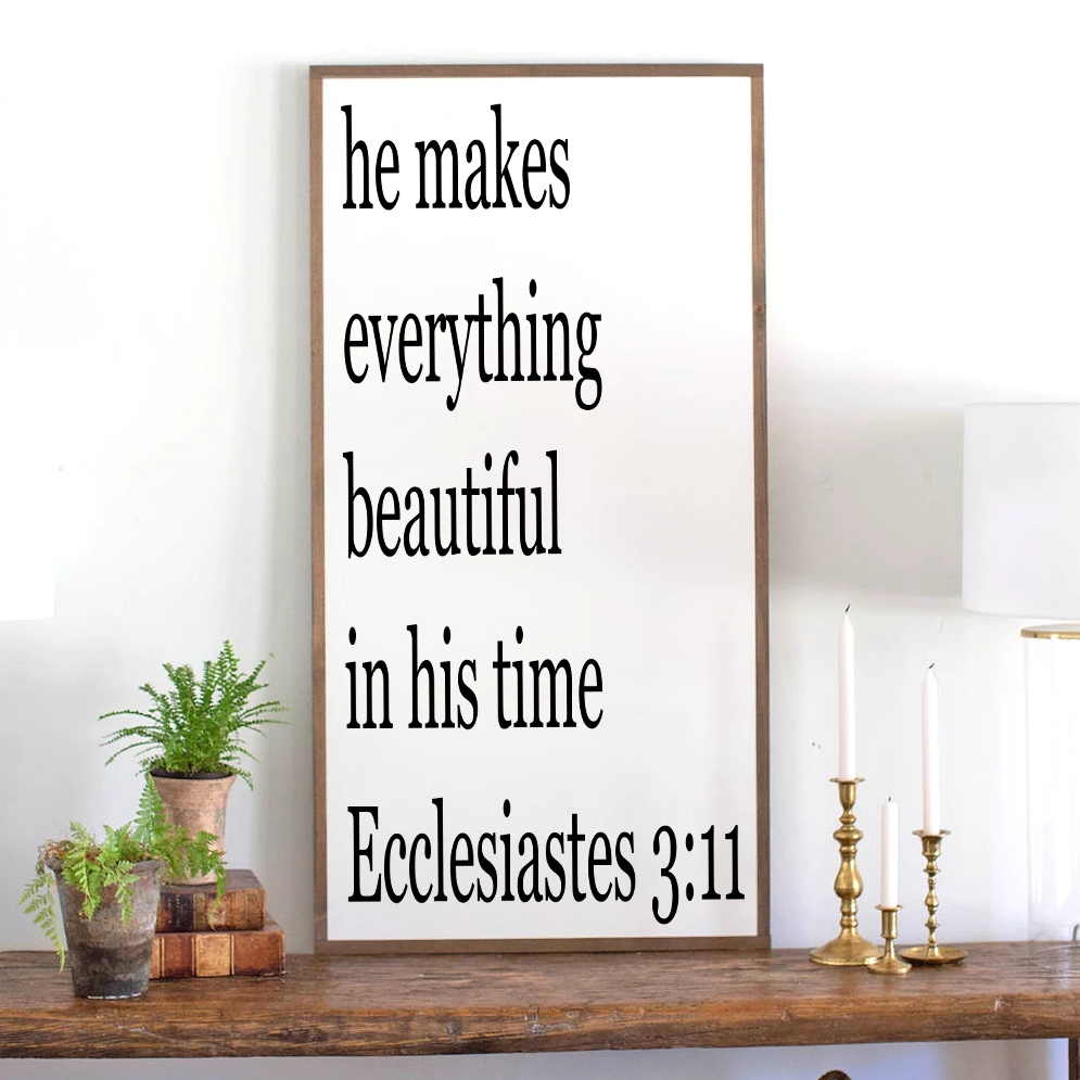 Framed wood sign with Bible verse Ecclesiastes