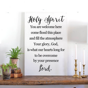 Holy Spirit worship song framed wood sign