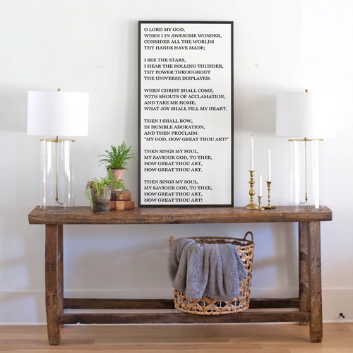 Large wood sign with lyrics to How Great Thou Art