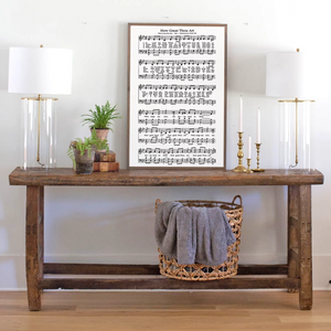 Framed sheet music sign of church hymn How great Thou Art