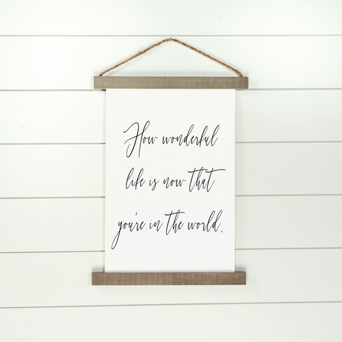 How Wonderful Life Is Hanging Canvas Sign