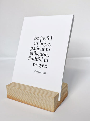 Scripture print on wood block