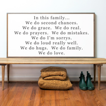 Load image into Gallery viewer, Farmhouse wood sign with Family quote