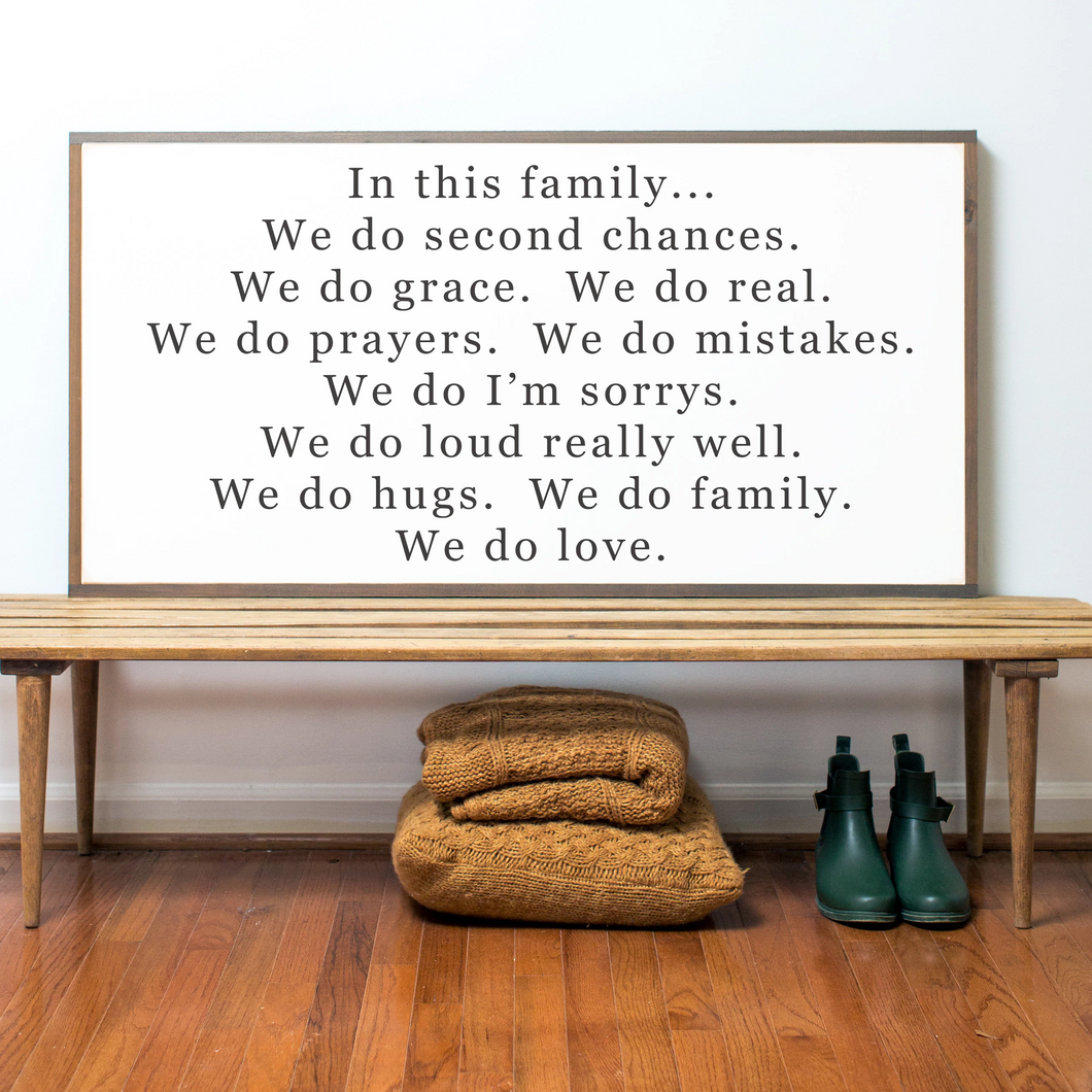 Farmhouse wood sign with Family quote