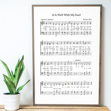 Load image into Gallery viewer, Close up view of Framed wood sign with It Is Well sheet music