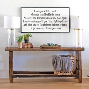 Framed farmhouse sign with lyrics to I hope You dance