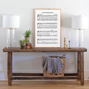 Framed wood sign with It Is Well Sheet Music