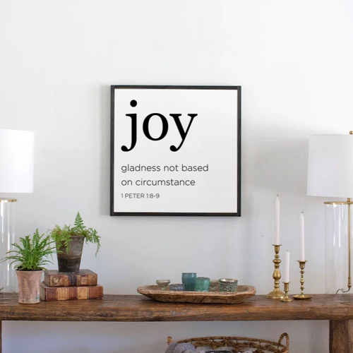 Modern farmhouse wood sign with definition of joy from Bible