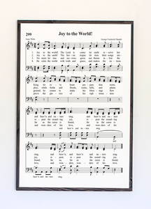 joy to the world sheet music framed wood sign