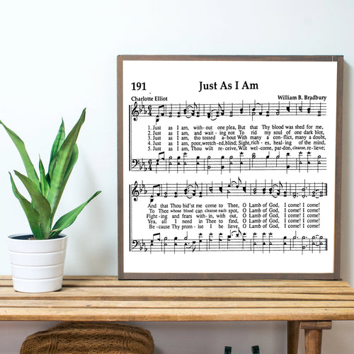 Just As I Am Sheet Music Wood Sign