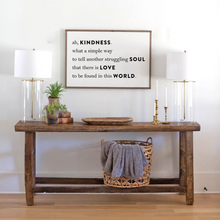 Load image into Gallery viewer, White background wood sign with Kindness quote