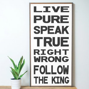 Live Pure Family Rules Wood Sign