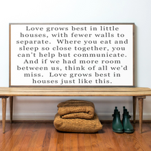 Load image into Gallery viewer, Love Grows best in little houses framed wood sign