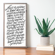 Load image into Gallery viewer, Handlettered framed wood sign with handlettering
