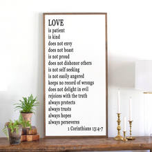 Load image into Gallery viewer, Love is... framed wood sign