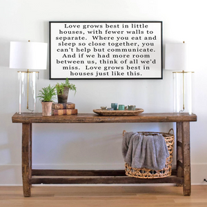 Lifestyle view of Love grows in little houses farmhouse wall art