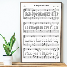 Load image into Gallery viewer, A Mighty Fortress sheet music wall art with driftwood frame