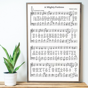A Mighty Fortress sheet music wall art with driftwood frame