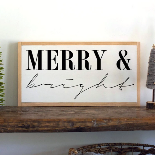 Farmhouse Christmas sign with merry & bright