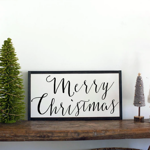 Small Merry Christmas wood farmhouse sign