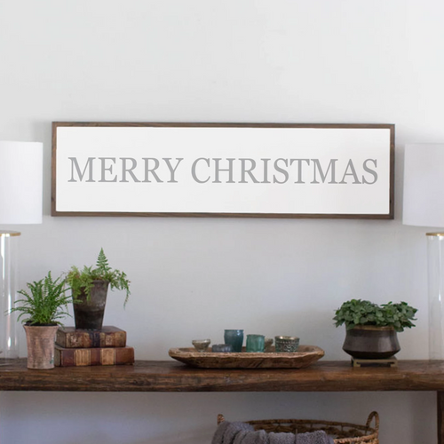 Merry Christmas Framed Wood Sign