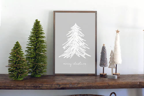 Gray background with white tree