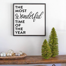 Load image into Gallery viewer, The most wonderful time of the year framed holiday sign