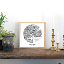 Load image into Gallery viewer, Framed wood sign of antique map of NYC