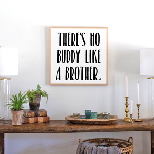 Framed wood sign for brothers room