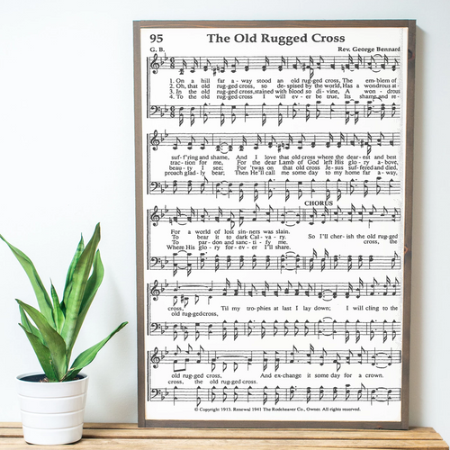 The Old Rugged Cross Sheet Music Wood Sign