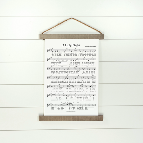 O Holy Night sheet music hanging canvas sign