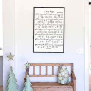 O Holy Night sheet music sign with black frame