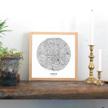 Load image into Gallery viewer, Framed wood sign with Paris map