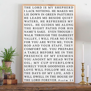 Close up of Psalm 23 framed wood sign